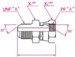 建機用(他)90°エルボホース用アダプター Aネジ側:Oリングボス(ロックナットタイプ)ホース変換用アダプター