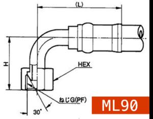横浜ゴム製 ホース口金具 ML90