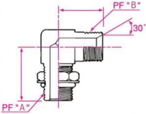 90°エルボホース用アダプター Aネジ側:Oリングボス(ロックナットタイプ)