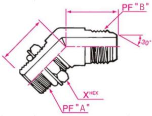 45°エルボホース用アダプター Aネジ側:Oリングボス(ロックナットタイプ)